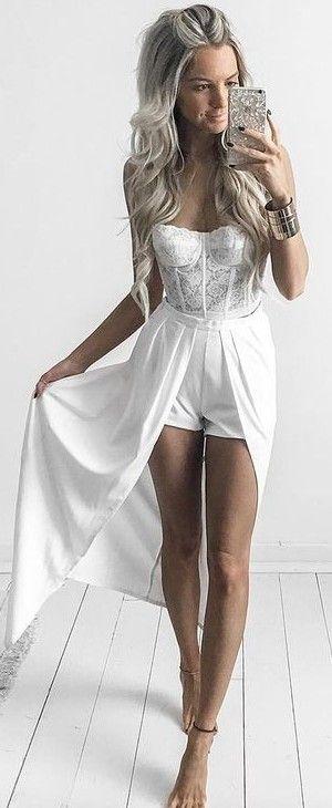 White Lace Strapless Bodysuit + White Short Skirt                                                                             Source