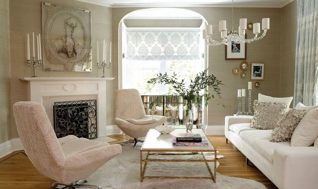 A clean, modern living room in a beautiful old Victorian home.