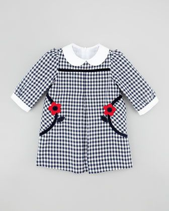 Flower-Pocket Gingham Dress, Navy/White by Florence Eiseman at Neiman Marcus.