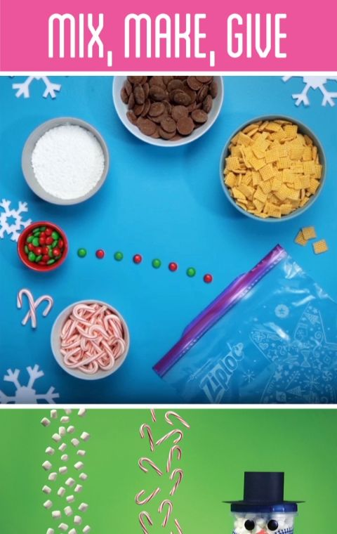 With Ziploc® brand bags and containers, making holiday crafts, gifts and recipes is fun and easy. Three Ziploc ® Twist 'n Loc ® containers can be stacked to create a DIY hot cocoa snowman kit. Glitter pinecone ornaments can be made without the mess with spray glue and a Ziploc® bag. Reindeer food snack mix is a yummy mix of crispy cereal, chocolate, peppermint candy canes, chocolate buttons and powdered sugar.