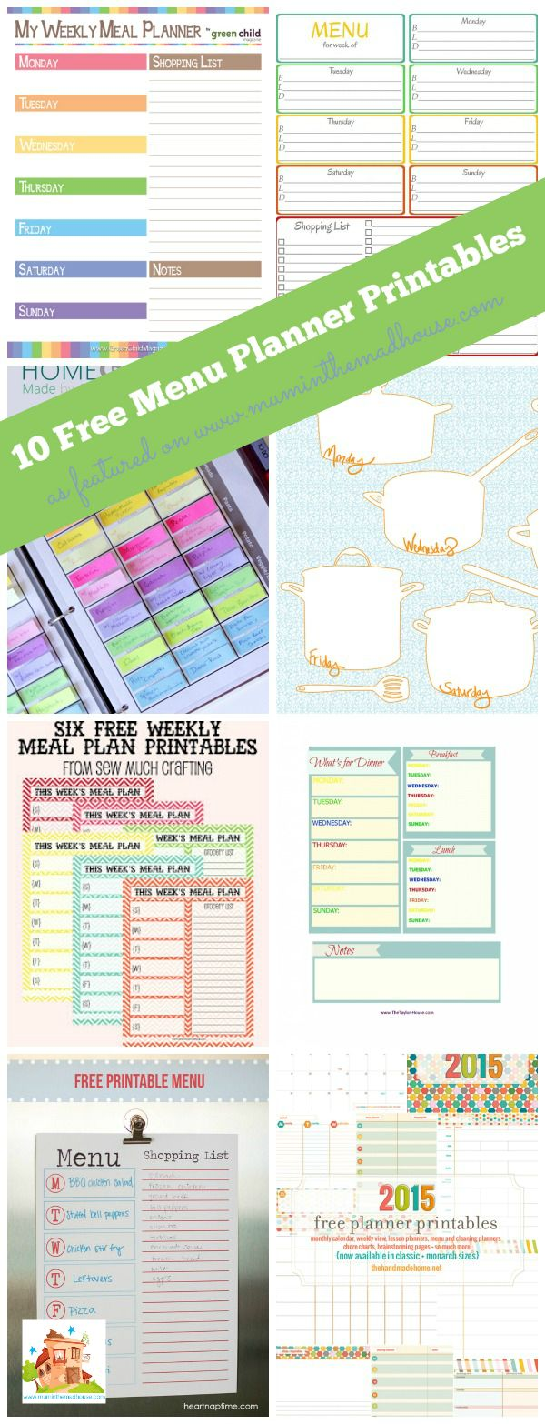 10 free menu planning printables.  Are you a meal planner?  If you don't, then you really should as you can save both money and time.  There is a meal planner for everyone here.