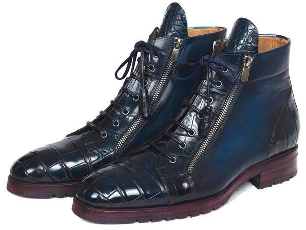 Genuine Crocodile & Calfskin Side Zipper Boots