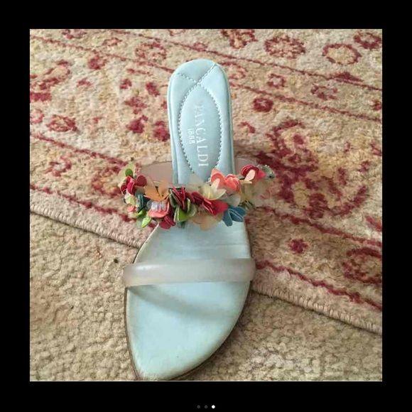 Pancaldi floral heeled sandals Beautiful and unique floral sandals. pancaldi brand!! Shoes Heels