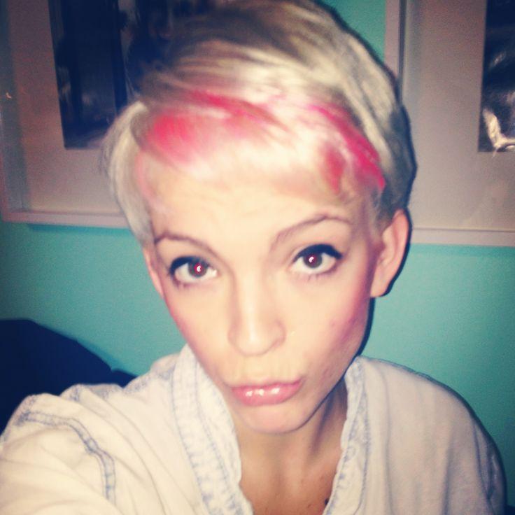 Platinum blonde, with pink bangs, pixie! | hair cut