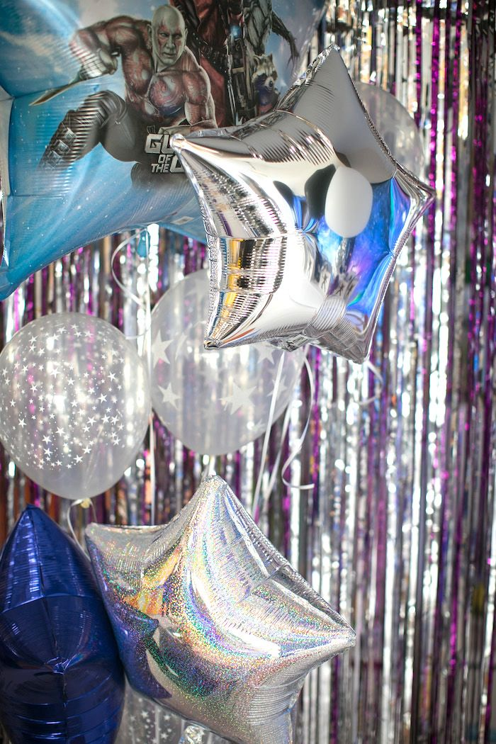 """Galaxy balloon bunch from a """"Guardians of the Galaxy"""" Birthday Party on Kara's Party Ideas 