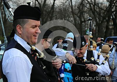 St. Patrick's parade - portrait bagpiper before the festivity in Bucharest, Romania.