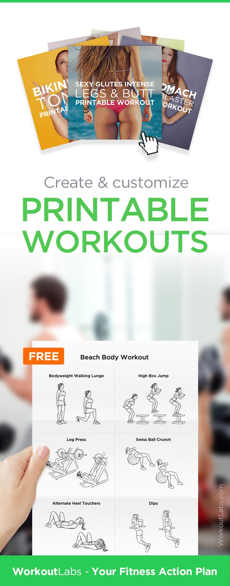 Create and customize printable workout plans with exercise illustrations, FREE