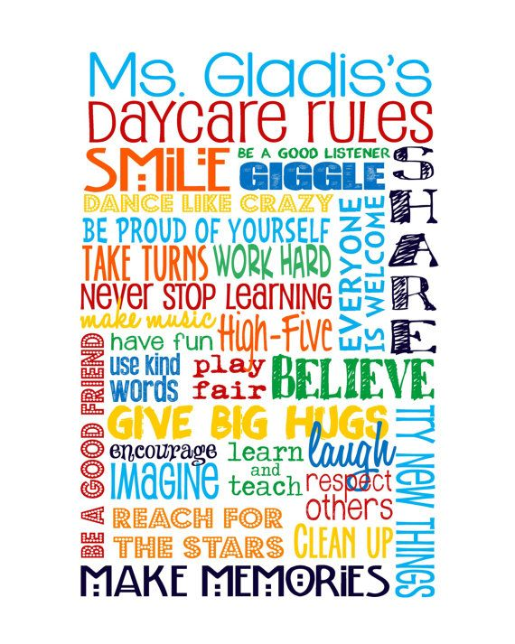 Classroom Rules edited for a Daycare or by sweetleighmama on Etsy, $22.00
