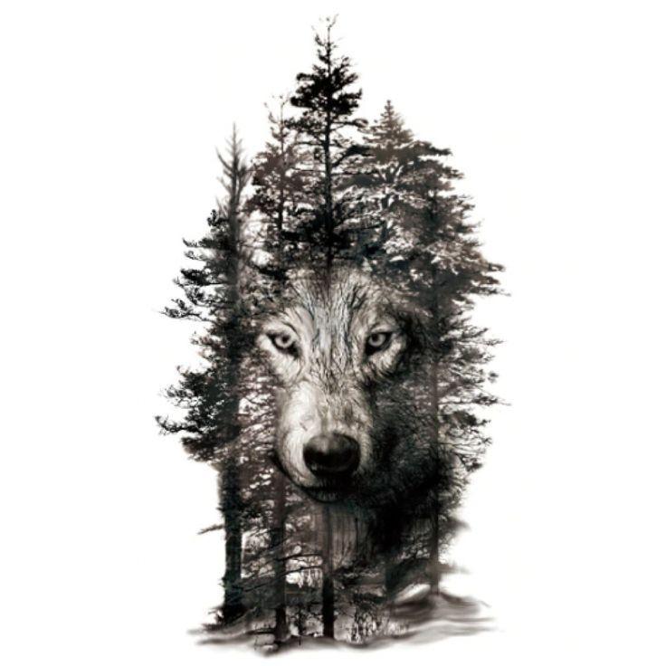 Wild Forest Wolf Design Water Transfer Temporary Tattoo Design Forest Tattoo Temporarry Wolf Tattoo Armel Wolf Tattoos Falsche Tattoos