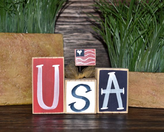 USA 4th of July Decor Patriotic Wood Block Set Independence Day Presidents Day Flag Americana Gift Military Mom Freedom Marines Army Navy on Etsy, $6.99