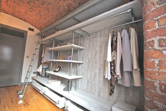 Samantha White Washed Reclaimed Scaffolding Board and Galvanised Steel Pipe Industrial Open Wardrobe/Dressing Room Shelving and Hanging Unit