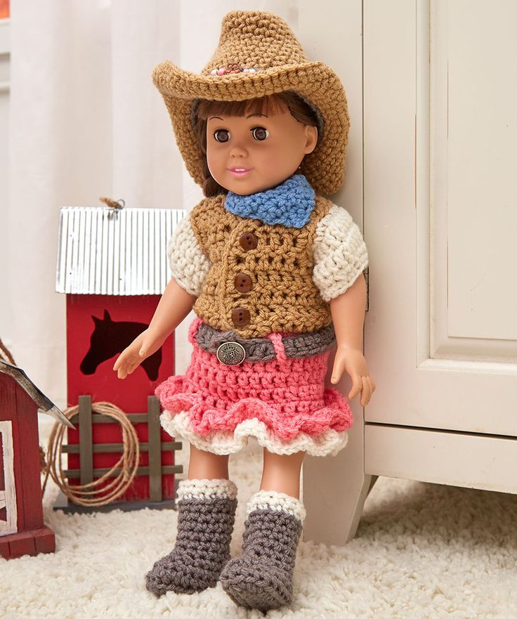 Dollie Cowgirl Partner: 1) http://www.redheart.com/free-patterns/dollie-cowgirl-partner 2) http://www.redheart.com/files/patterns/pdf/LW5392-Dollie-Cowgirl-Partner-Free-Crochet-Pattern.pdf
