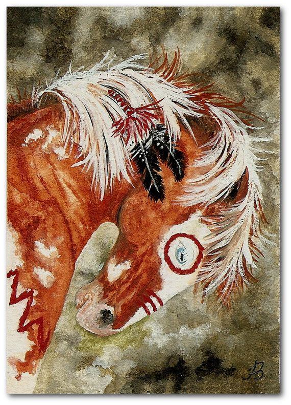 Majestic Mustang Native American War Paint Pinto Horse ArT  -  Print by AmyLyn Bihrle