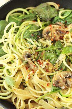 Zucchini Aglio E Olio with Mushrooms