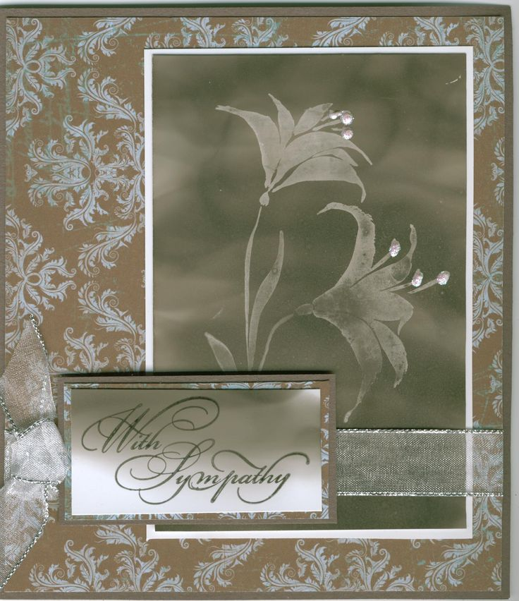 with sympathy 4509D, lilies 2698F: Stamp-it Australia. Using soot technique. Card by Susan of Art Attic Studio