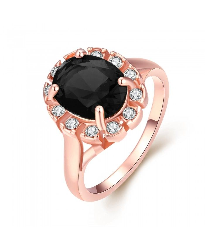 Ouruora Black Zircon Arround Clear CZ Flower Ring Rose Gold Plated