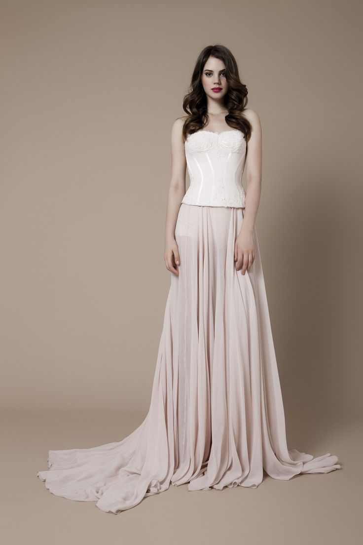 Silk corset with lace applications and a chiffon skirt
