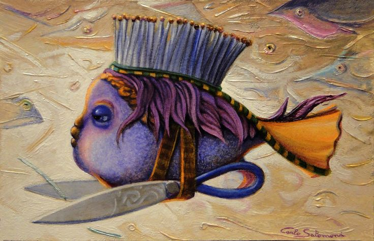 Artique | THE HAIRDRESSER FISH-2016,  Acrylics board, ready to hang ) (7,8 x 11,8 inches) | Carlo Salomoni