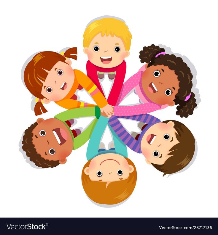 Group of children putting hands together Vector Image