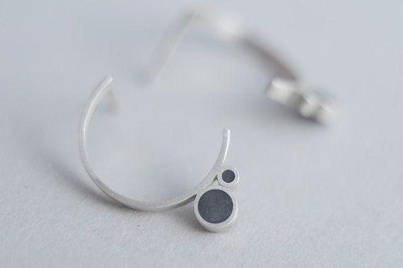 Concrete Jewelry, Matte Hoops, Half Circle Earrings, Concrete Earrings, Half Moon Stud Earrings, Open Circle Earrings, Contemporary Earrings