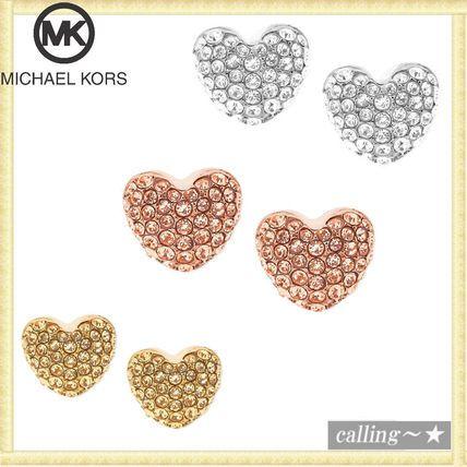 セレブ愛用者多数☆Michael Kors☆ Pave Heart Stud Earrings