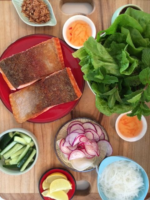 Crispy Salmon lettuce wraps with salad and nuoc cham