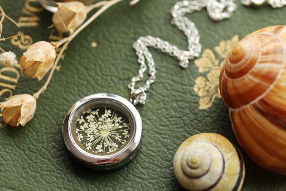 White flower locket  pressed flower pendant by RubyRobinBoutique