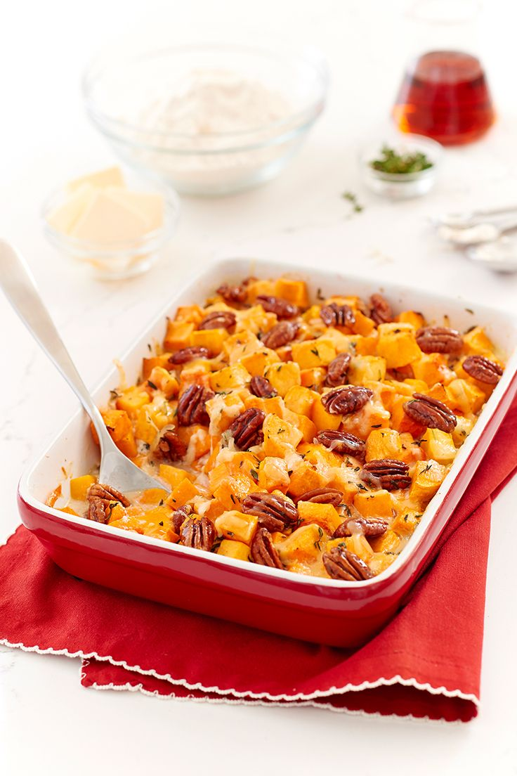 Butternut Squash Casserole. Butternut squash cubes are roasted