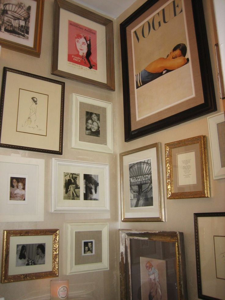 69 best collage gallery walls images on pinterest for Bathroom picture frame ideas