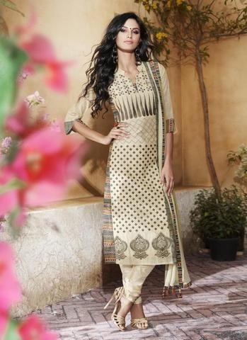 Beige Khadi & Cotton Salwar Kameez ,Indian Dresses