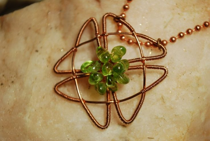 """Lucky clover"" copper and peridot by Angelina Croft"