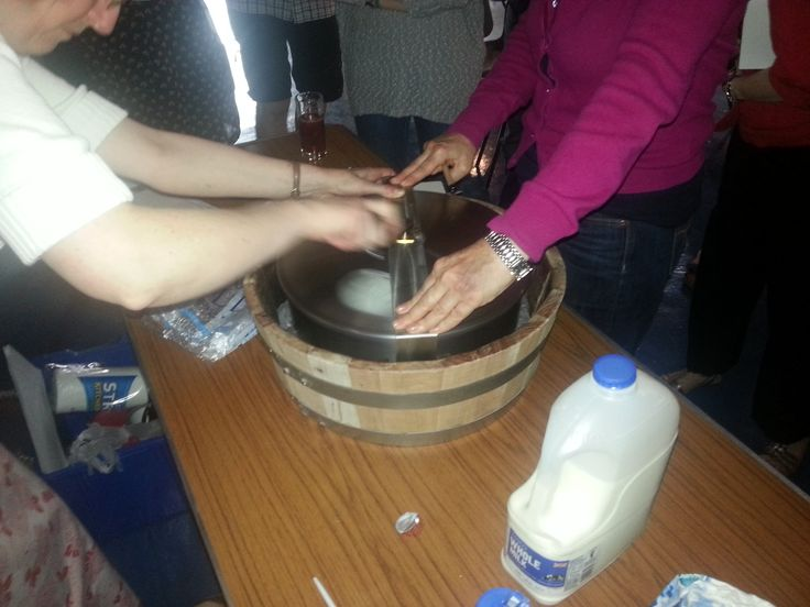 Making ice cream, the Victorian way, with our new replica of Mrs Marshall's ice cream maker.