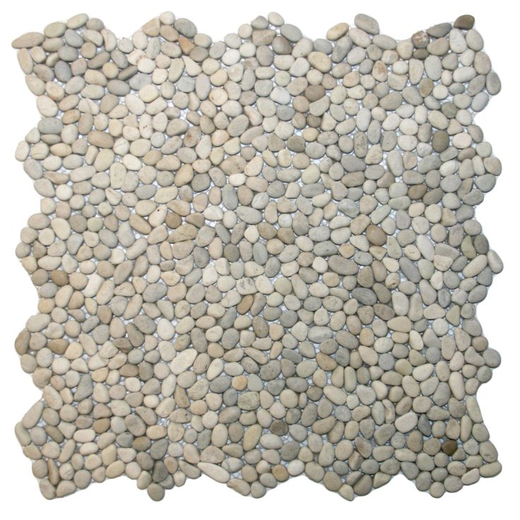 Each pebble is carefully selected and hand-sorted according to color, size and shape in order to ensure the highest quality pebble tile available.  The stones are attached to a sturdy mesh backing using non-toxic, environmentally safe glue.  Because of the unique pattern in which our tile is created they fit together seamlessly when installed so you can't tell where one tile ends and the next begins!    Usage:      Shower floor, bathroom floor, general flooring, backsplashes, swimmi...