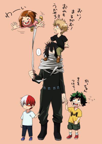 boku no hero academia, my hero academia, aizawa, eraserhead, shouto todoroki, ochako uraraka, izuku midoriya, katsuki bakugou