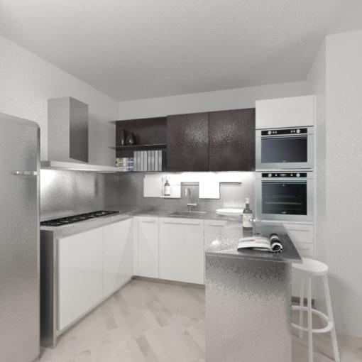 cucina moderna ad angolo con tavolo scorrevole a scomparsa in ...