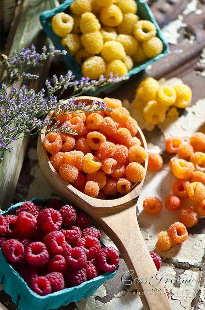 Frutas | Framboesa vermelha, framboesa amarela, framboesa laranja