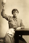 Pauline Adams of Virginia in a costume resembling the prison outfit she wore while serving a 60-day sentence. ca. 1918.