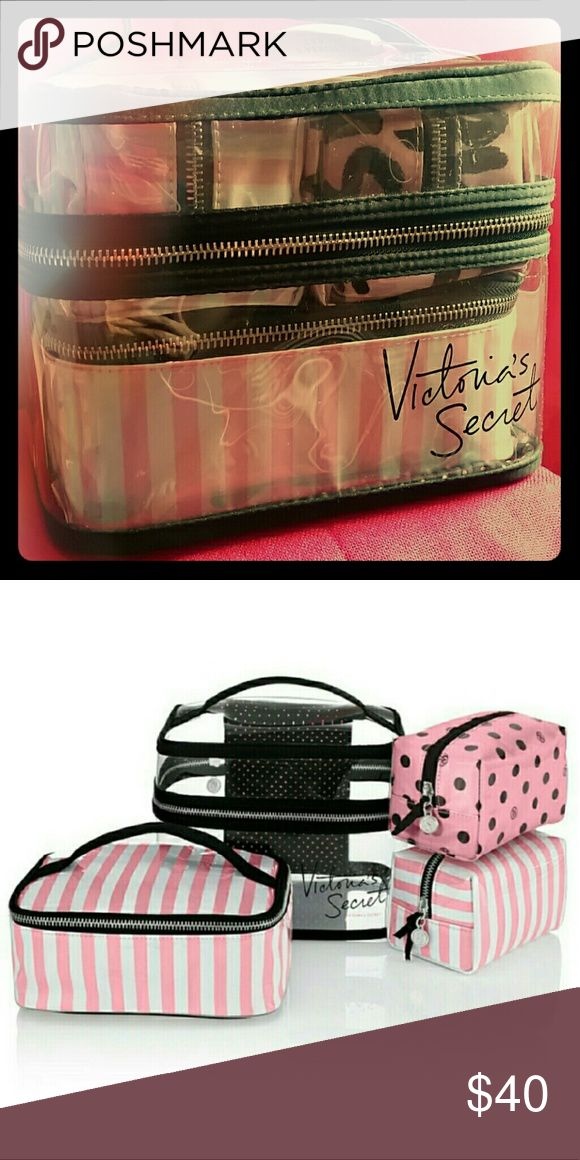 Victoria's Secret Travel Case 4 piece Set Victoria's Secret Train Case / Travel Case 4 piece Set.  Four separate cosmetic bags with zip closures  Clear Bag: 8 1/4?L x 6 1/4?W x 6 3/4?H  Small VS Stripe Bag: 5 1/2?L x 3 3/4?W x 3 1/4?H  Small Polka Dot Bag: 5 1/2?L x 3 3/4?W x 3 1/4?H  Medium VS Stripe Bag: 7 1/2?L x 5 3/4?W x 3?H Victoria's Secret Bags Cosmetic Bags & Cases