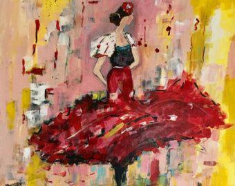 Articoli simili a illustrazione arcobaleno / matita ballerini di flamenco/trucioli / originale collage / verde blu rosso arancione giallo matita / wall decor / su Etsy
