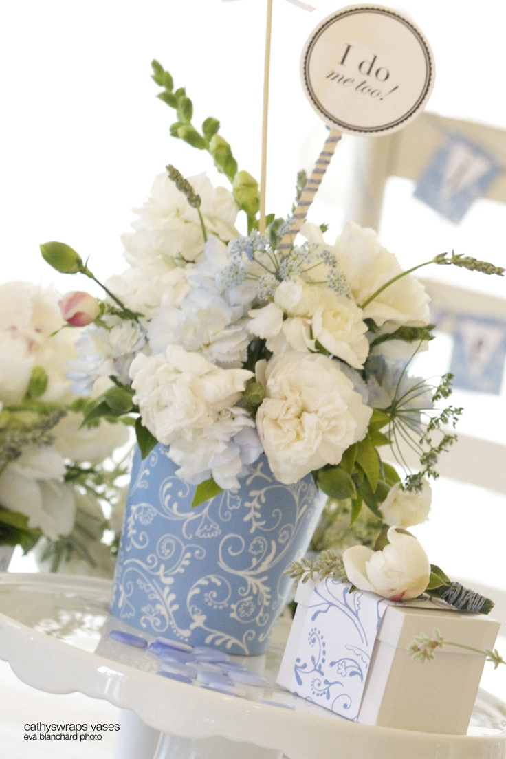 Blue hydrangea centerpiece decorations for baby and bridal