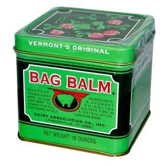 Got cracked heels? Then rub in Bag Balm at bedtime, put on a pair of socks, and awake to softer feet and cuticles. It's made in the USA (Vermont), and it has been healing animals and humans since 1899. Besides lanolin and petroleum jelly, it contains an antiseptic (8-hydroxyquinoline sulfate), so your painful, cracked heels quickly repair.