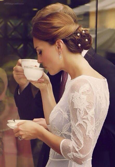 {kate middleton | royal}: Duchess Of Cambridge, Tea Time, Wedding Hair, Katemiddleton, Royal, Dress, Hairstyle, Kate Middleton, Princess Kate