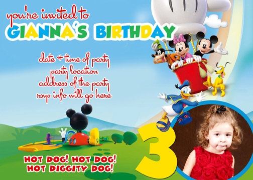 Mickey Mouse Clubhouse Invitation Digital File 4X6 or 5X7. $5.00, via Etsy.