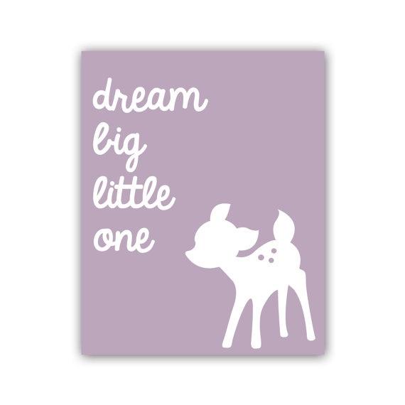 Dream Big Little One Art Print 8x10 Inch Nursery Deer Print Woodland Nursery Print in Lavender - Customize Your Colors