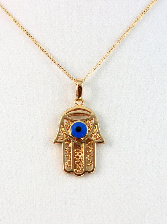 Hamsa Evil Eye Necklace 18kt Gold Filled Hand of Fatima Womens