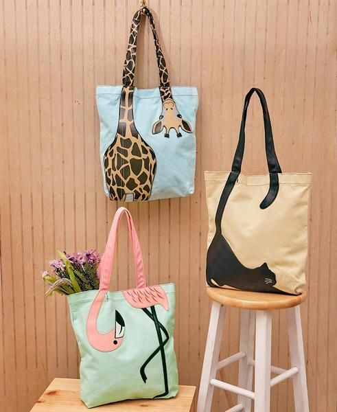 Animal Fun & Fab Canvas Tote Bags
