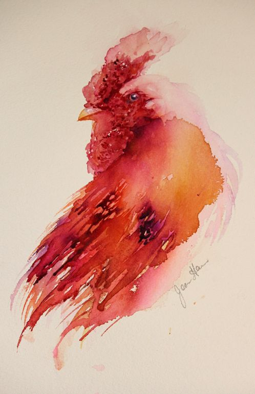 The Magic of Watercolour Painting Virtual Gallery - Jean Haines, Artist - Cockerels, Title: Ruffled Feathers