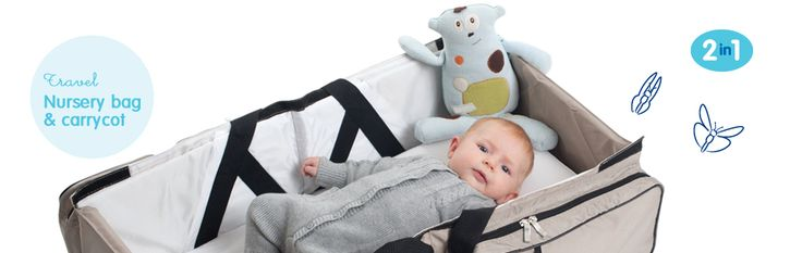 My kids are too old for this but posting for ladies with little ones who travel often. It's a diaper bag that doubles as a sleeping cot and changing station.    Delta Baby - Our products - Travel - Nursery bag & carrycot