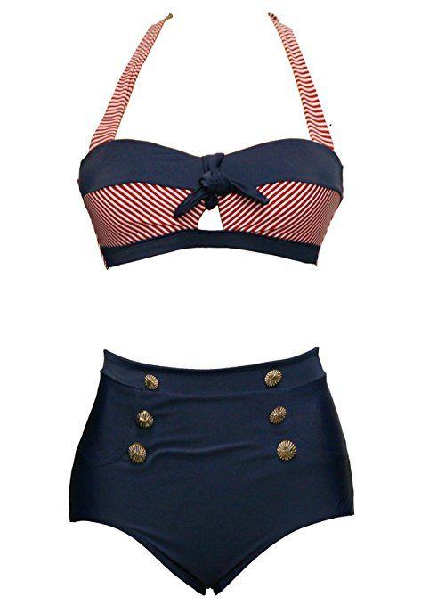 BSLINGERIE® Sexy Damen Retro Bademode Übergröße Halfter Bikini Set (3XL, Rot gestreiften Keyhole) EUR 18.99 - EUR 19.99