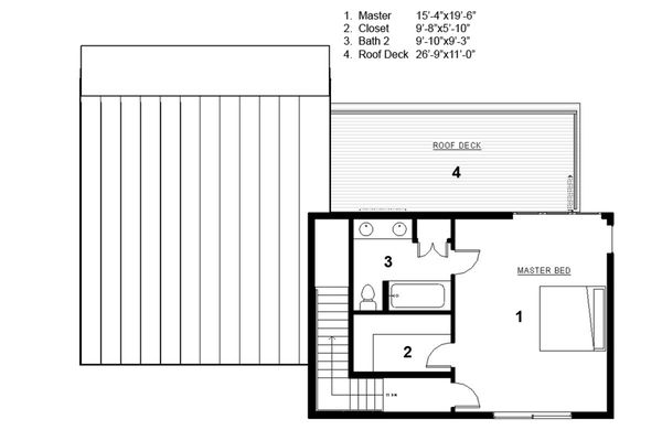 Modern Style House Plan - 3 Beds 2 Baths 2115 Sq/Ft Plan #497-31 Floor Plan - Upper Floor Plan - Houseplans.com